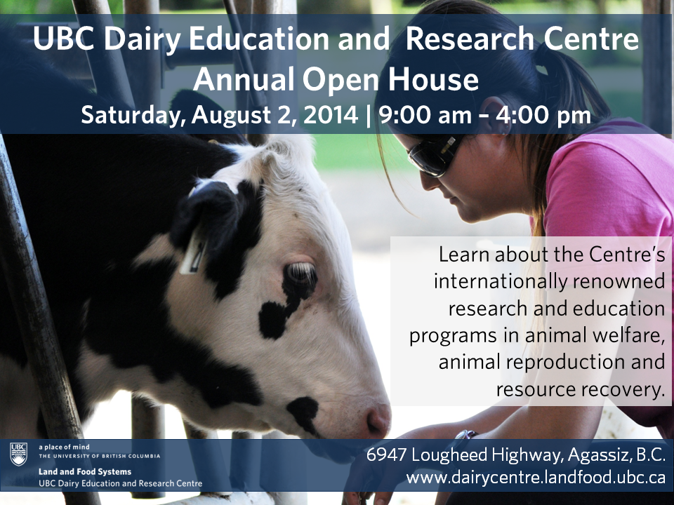 UBC dairy centre open house poster